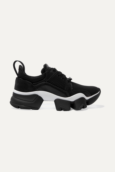 Givenchy Jaw Mesh And Suede-Trimmed Leather, Neoprene And Rubber Sneakers In Black