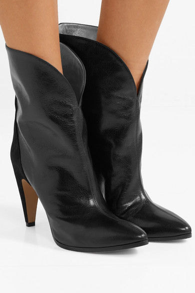 Givenchy Boots GV3 suede-trimmed textured-leather ankle boots
