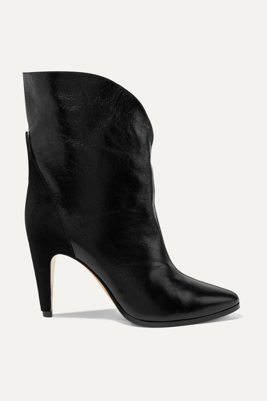 Gv3 Suede Trimmed Textured Leather Ankle Boots by Givenchy