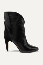 GV3 suede-trimmed textured-leather ankle boots