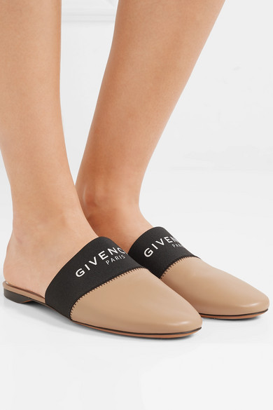 Givenchy Shoes Bedford logo-print elastic and leather slippers