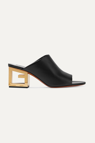 GIVENCHY Triangle Open-Toe Leather Mules in Black
