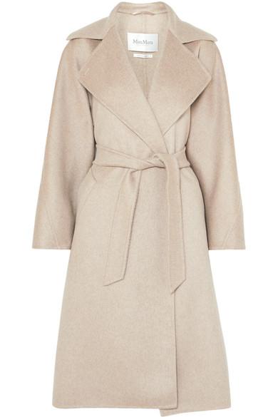 Belted Brushed-Cashmere Coat in Beige