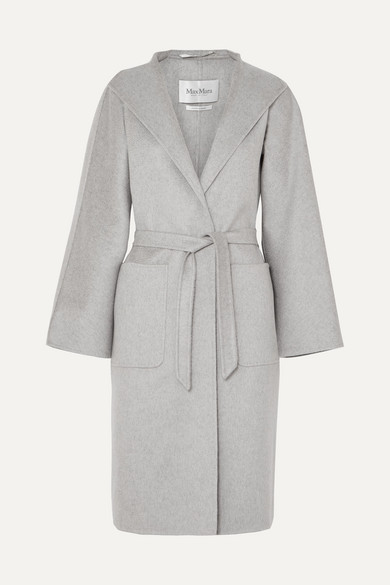 Belted Brushed-Cashmere Coat in Gray
