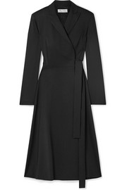 Wool-crepe wrap midi dress