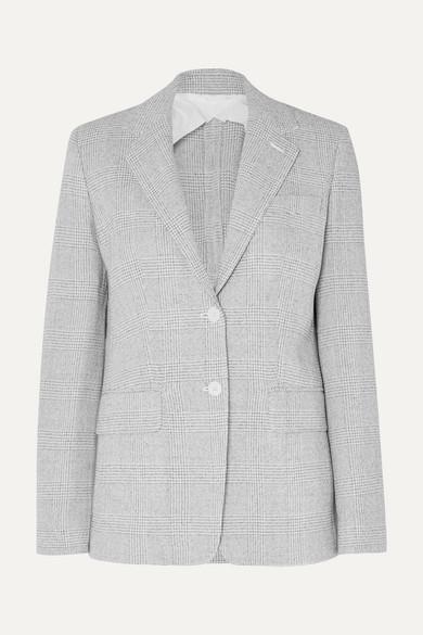 MAX MARA | Max Mara - Prince Of Wales Checked Wool Blazer - Gray | Goxip