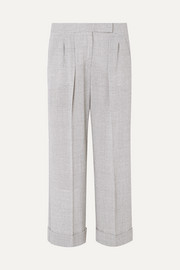 Dax cropped Prince of Wales checked wool wide-leg pants