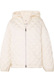 Hooded cotton poplin-trimmed quilted shell jacket