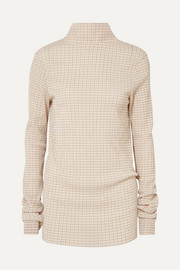 Checked crepon turtleneck top