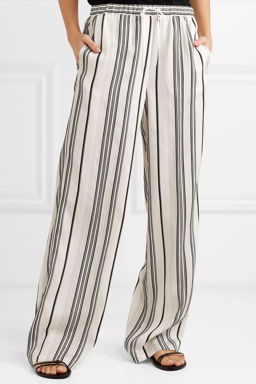 Jil Sander Embroidered striped grain de poudre silk wide-leg pants