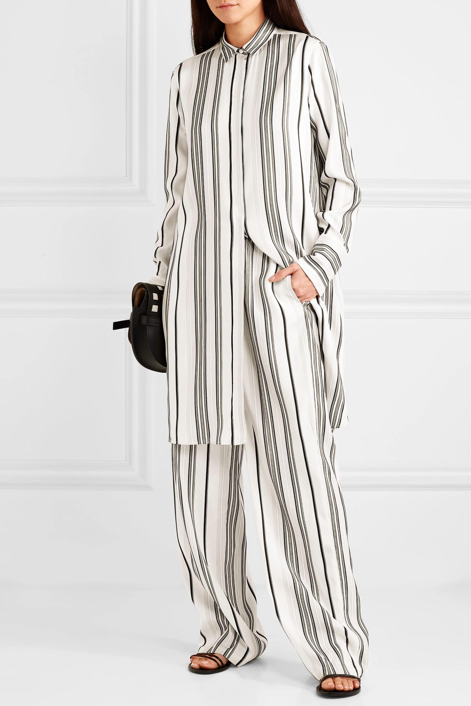Jil Sander Embroidered striped grain de poudre silk shirt