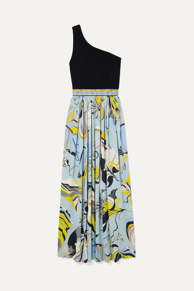 One-Shoulder Stretch-Knit And Printed Crepe Maxi Dress in Blue