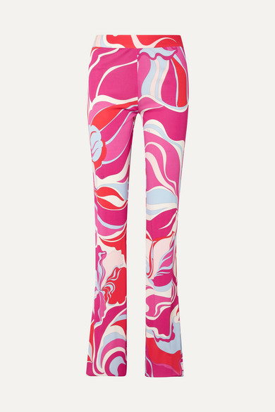 Printed Jersey Straight-Leg Pants in Pink