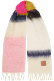 Striped fringed brushed mohair and wool-blend scarf