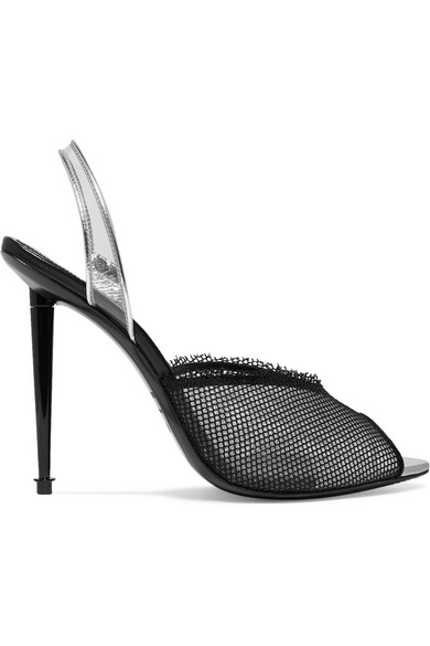 Tom Ford Pumps Metallic leather, PVC and mesh slingback pumps