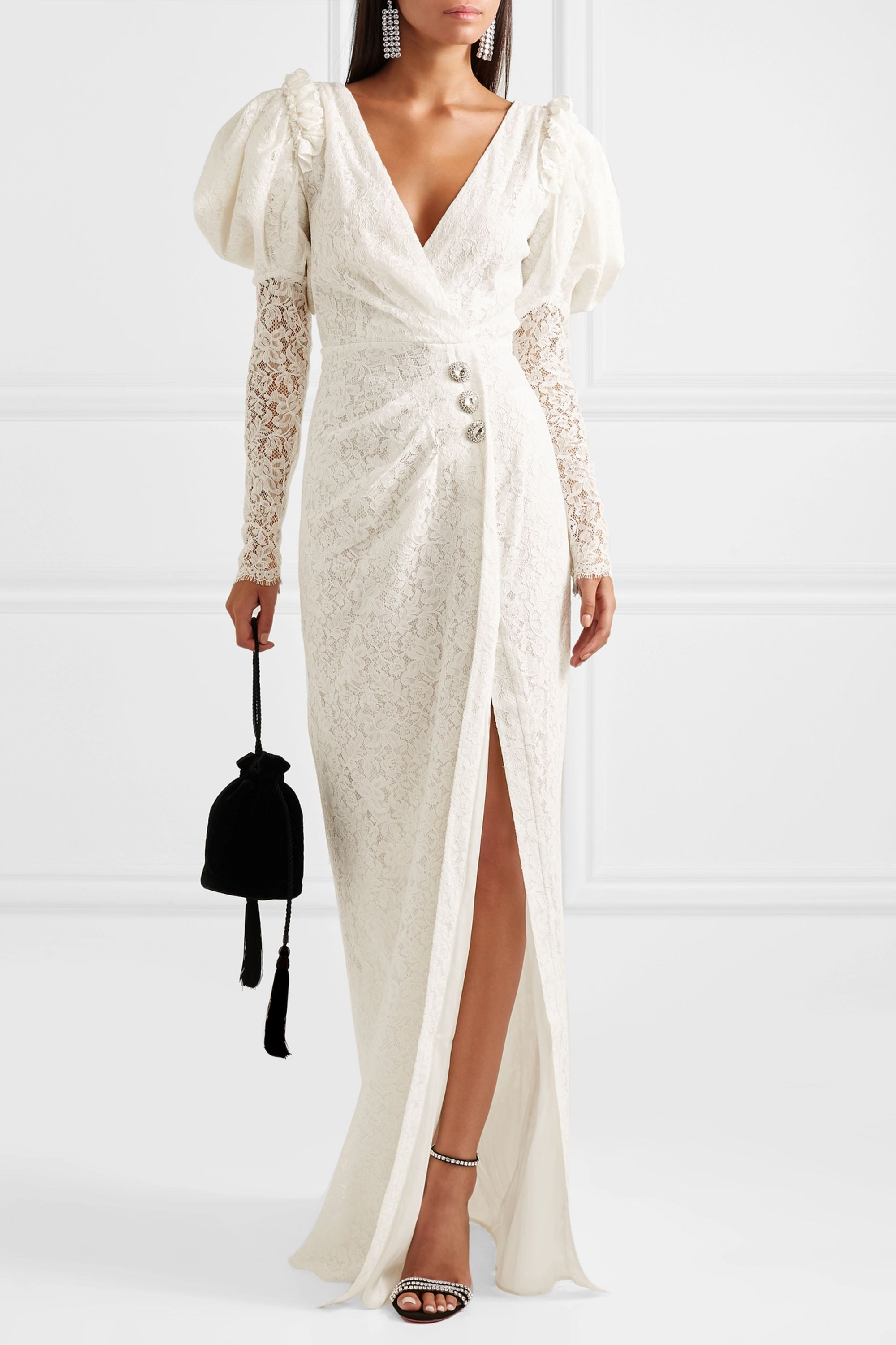 Alessandra Rich Crystal-embellished cotton-blend lace gown