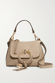 Joan mini textured-leather and suede shoulder bag