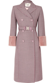 Fendi Shearling-trimmed wool-blend jacquard coat