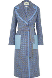 Fendi Belted canvas and leather-trimmed wool-blend twill coat