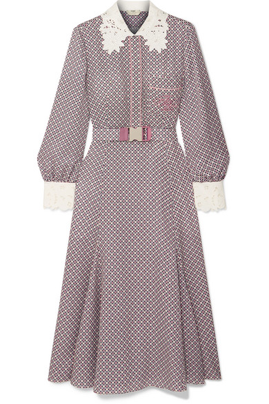 55dddee0c762 Fendi. Printed guipure lace-trimmed silk midi dress