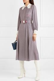 FendiPrinted guipure lace-trimmed silk midi dress