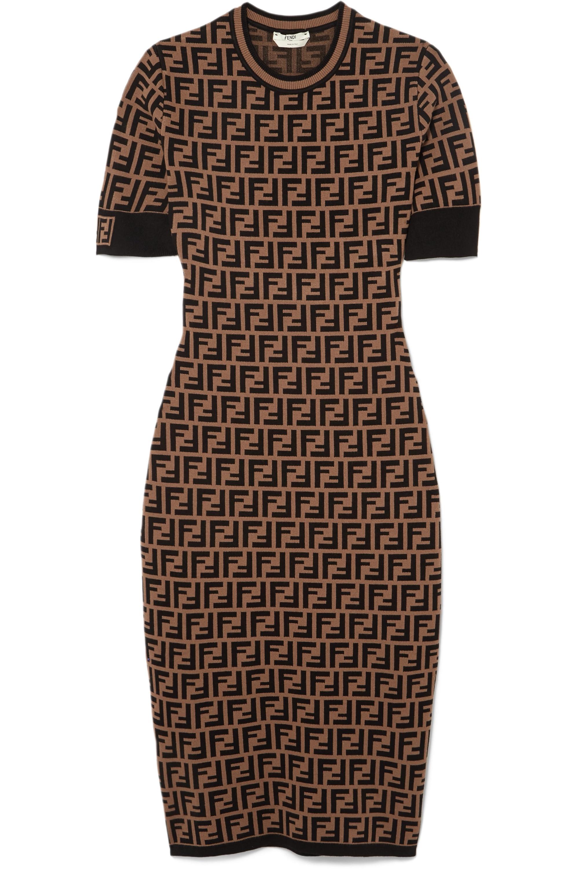 Kleid aus Jacquard-Strick mit Stretch-Anteil