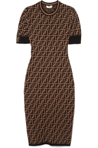 Short-Sleeve Logo Knit Midi Dress in Dark Brown