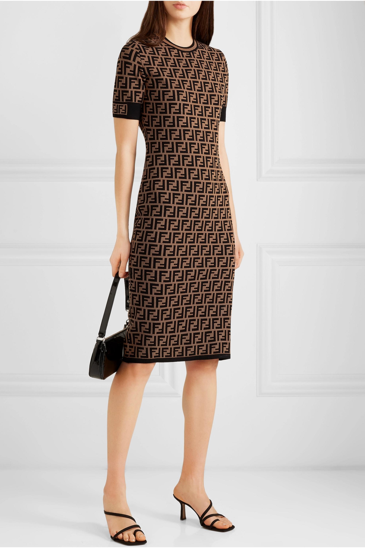 Fendi Kleid aus Jacquard-Strick mit Stretch-Anteil