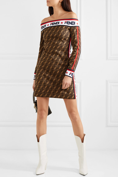 Fendi Dress Off-the-shoulder printed cotton-blend mini dress
