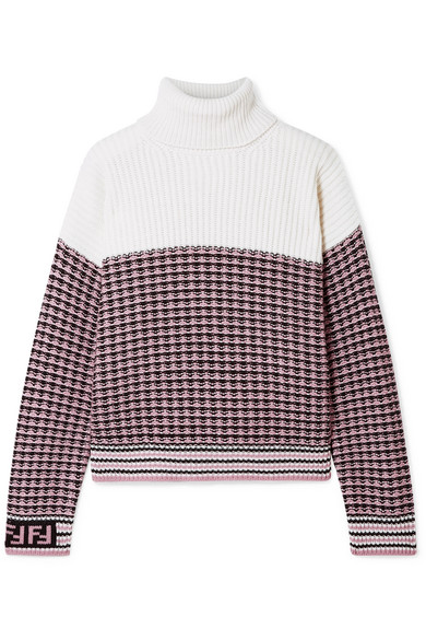 Paneled Wool And Cashmere-Blend Turtleneck Sweater in Blush