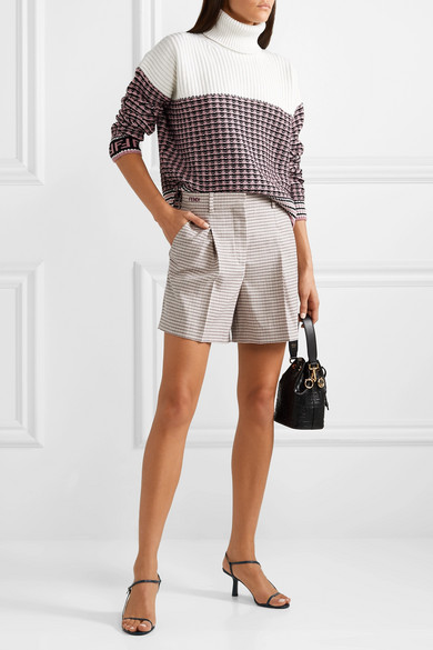 Fendi Tops Paneled wool and cashmere-blend turtleneck sweater