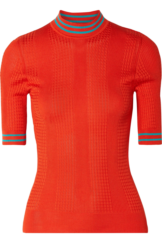 Fendi Cable-knit silk turtleneck sweater