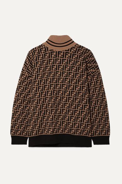 Intarsia Cashmere Turtleneck Sweater in Brown