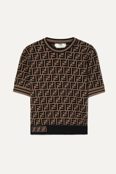 9554fece156d Fendi   Jacquard-knit sweater   NET-A-PORTER.COM