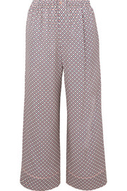 Fendi Cropped printed silk-charmeuse pants
