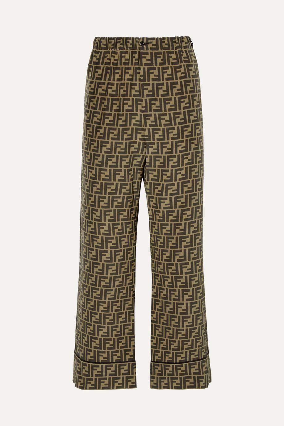 Fendi Cropped printed silk-satin wide-leg pants