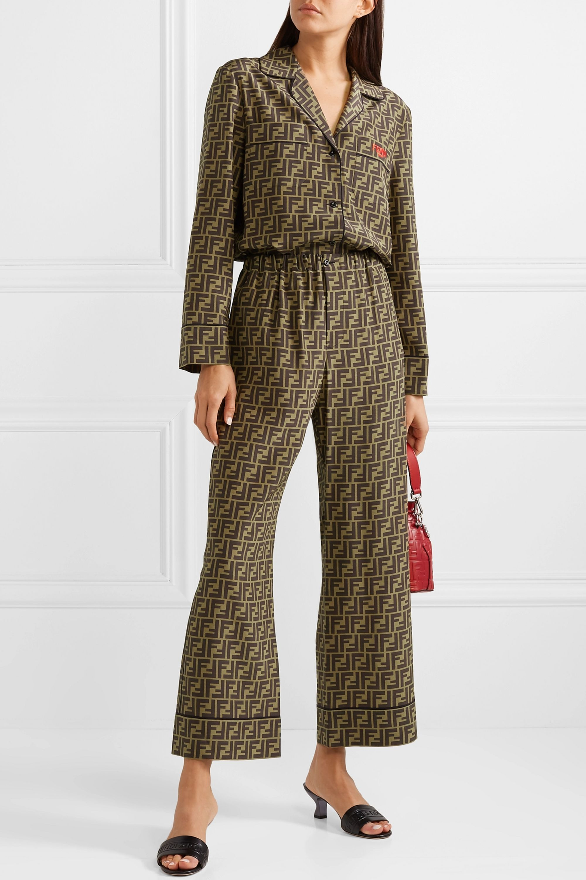 Fendi Cropped printed silk-satin wide-leg pants