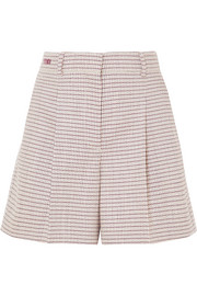 Fendi Pleated checked wool-blend shorts