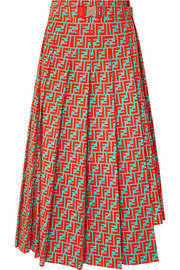 Fendi Asymmetric pleated printed cotton-poplin skirt
