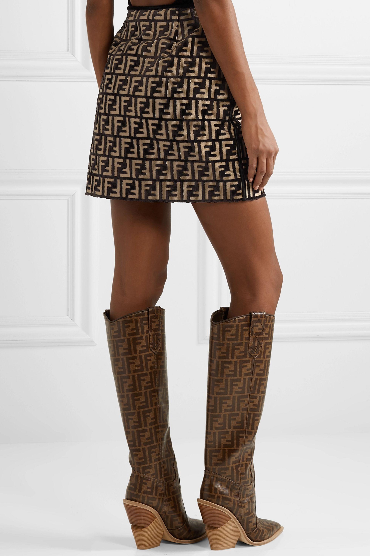 Fendi Flocked woven mini skirt
