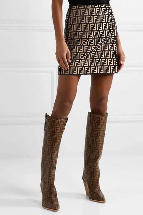 Flocked woven mini skirt