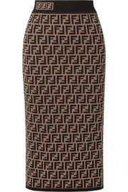 Jacquard-knit midi skirt