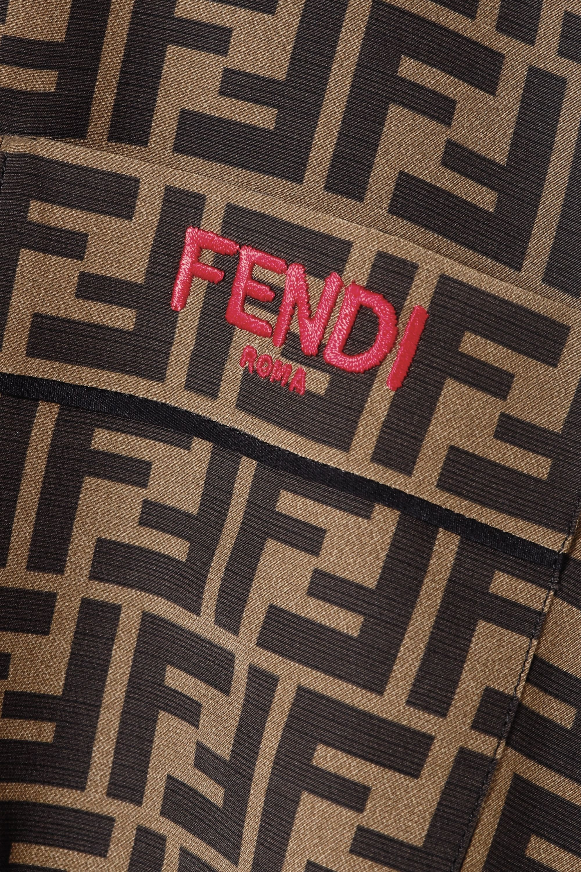 Fendi Embroidered printed silk-satin shirt