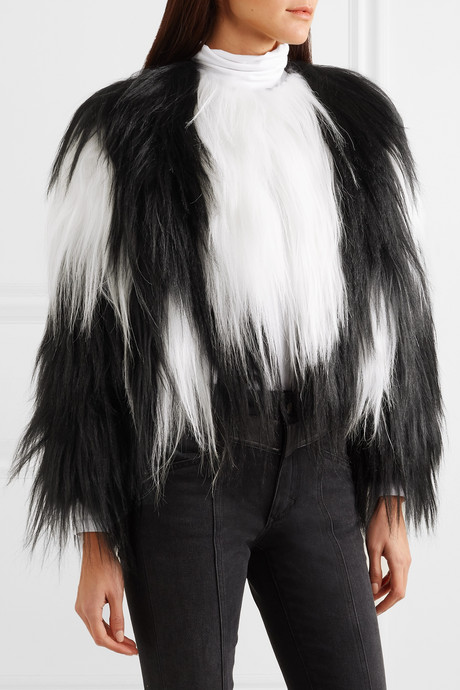 Two-tone goat hair coat