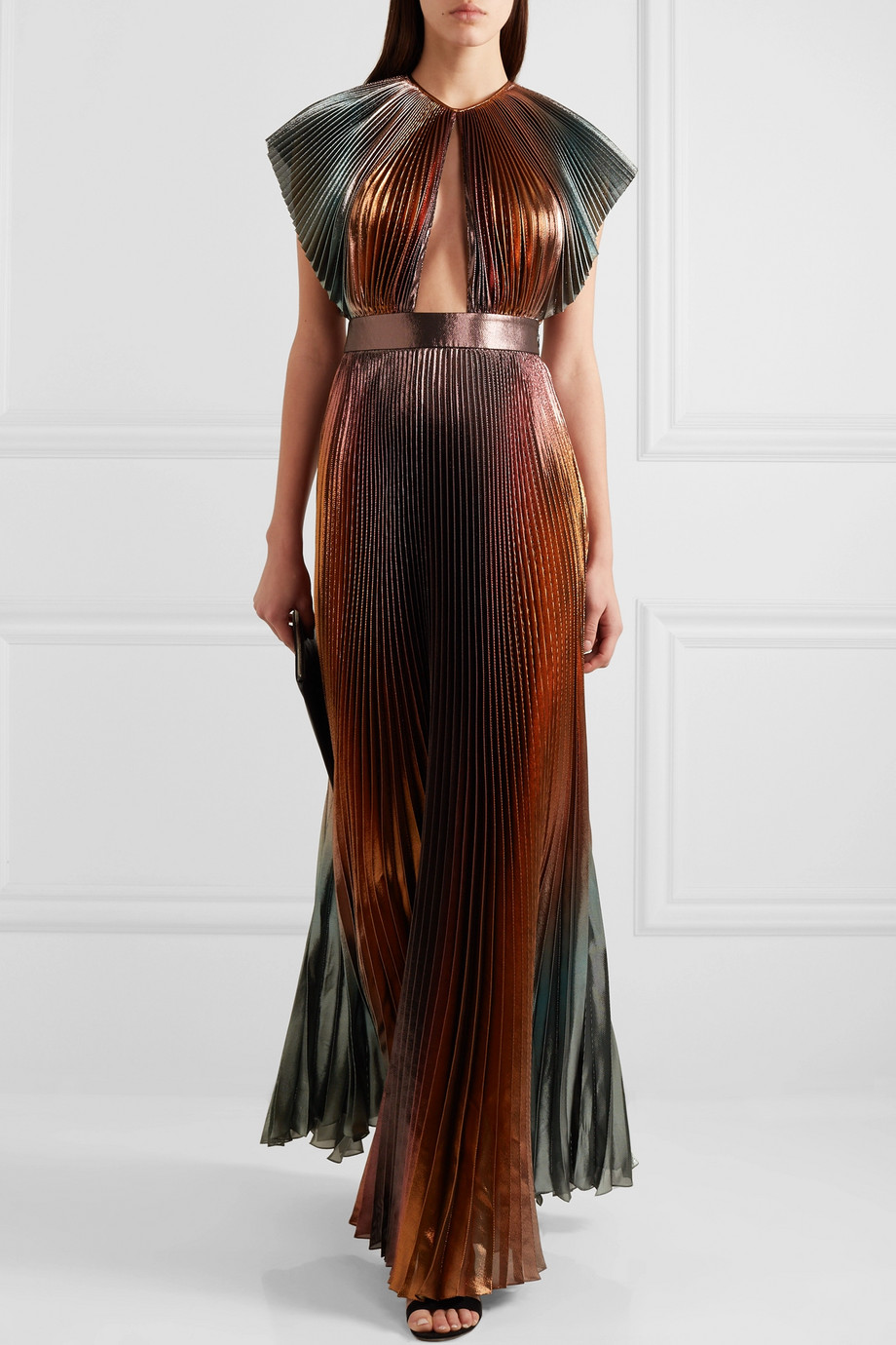 Givenchy Cutout pleated silk-blend lamé gown