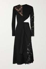 Givenchy Cutout paneled wool-crepe, silk crepe de chine and lace midi dress
