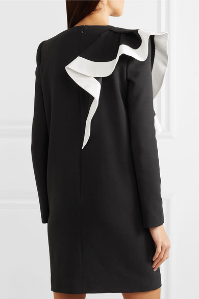 Givenchy Dress Ruffled silk faille-trimmed wool mini dress