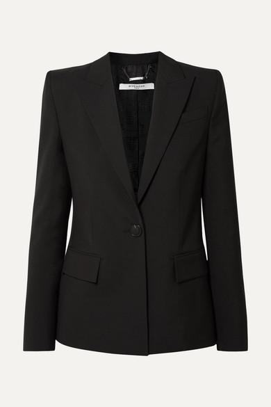 Grain De Poudre Wool Blazer in Black
