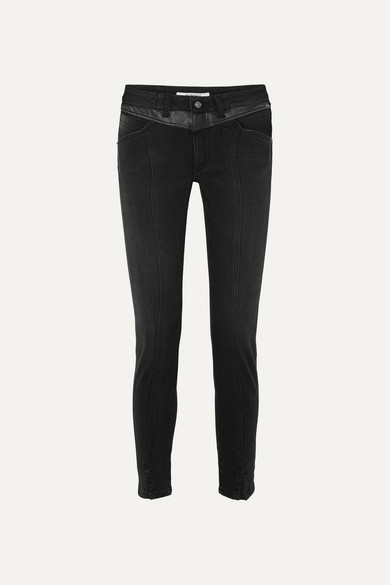 Givenchy Jeans Leather-trimmed mid-rise straight-leg jeans