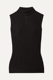 Givenchy Embroidered ribbed-knit turtleneck top